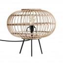 Lampe de table en bambou tressé et métal noir HK Living